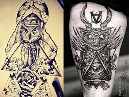 Desenhos de corujas com pirâmide com olho