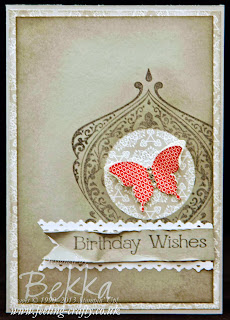 Another Beautiful Butterfly Card from UK Stampin' Up! Demonstrator Bekka Prideaux - check out her blog for loads and loads of ideas using the Papillion Potpourri Stamp Set!  This card also features the gorgeous Beautifully Baroque - yumm!