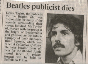The Beatles Polska: Derek Taylor umiera na raka.