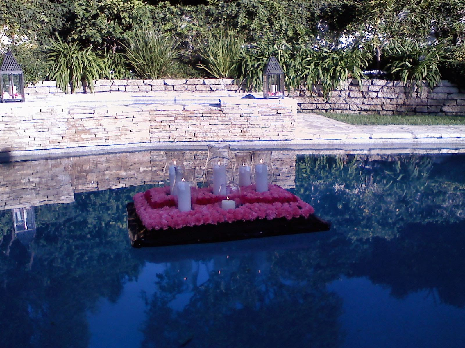 Pool Decorations Flanked Candles