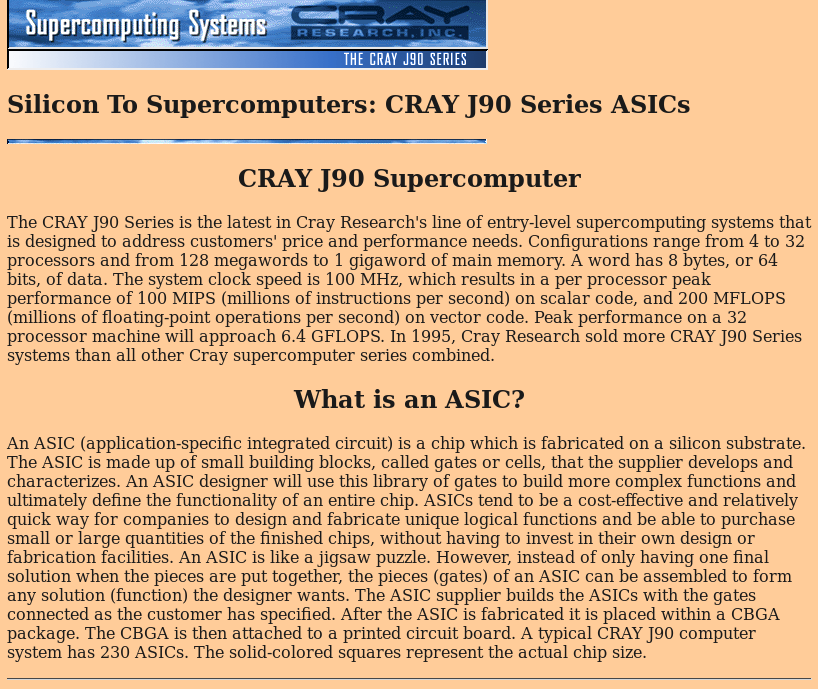 Cray ASIC webpage screenshot