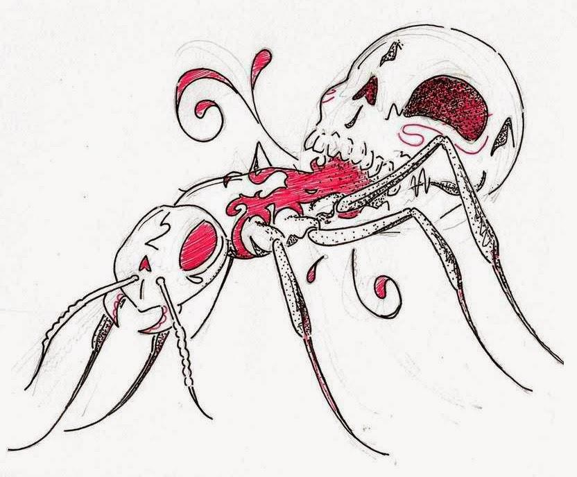 Killer skull ant tattoo stencil