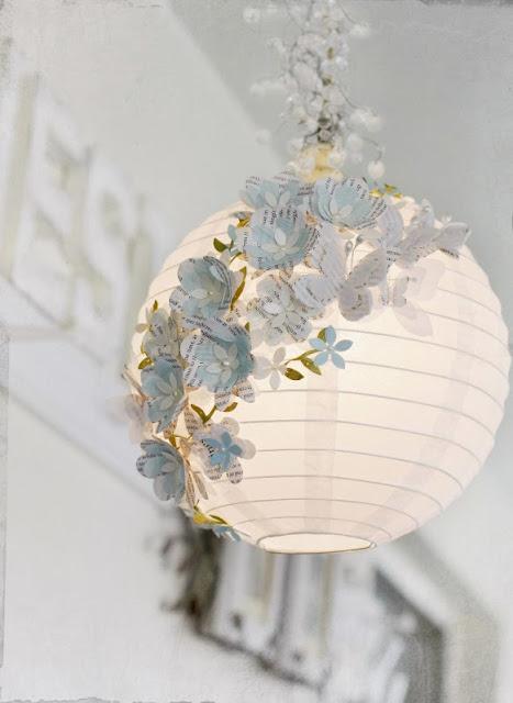 Una Bonita Lampara de Flores de Papel. DIY.