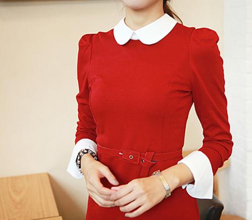 Kimchi style white collar dress kstylick latest korean fashion