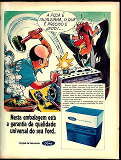 propaganda peças Ford - ilustração amigo da onça - 1970; propaganda década de 70; Brazil in the 70s; Reclame anos 70; História dos anos 70.