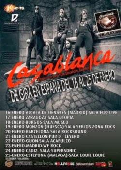 Gira por España de Casablanca, con Ryan Roxie, en enero