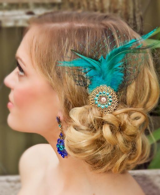 Aqua & Gold Headpiece with Feathers