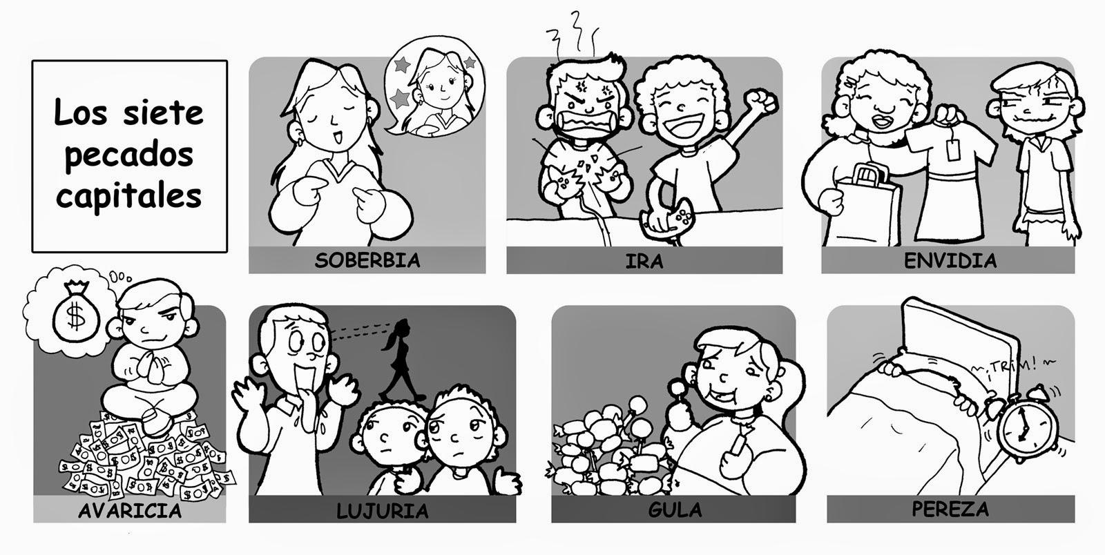Dibujos para catequesis pecados capitales catequesis - Dibujos en la pared infantiles ...