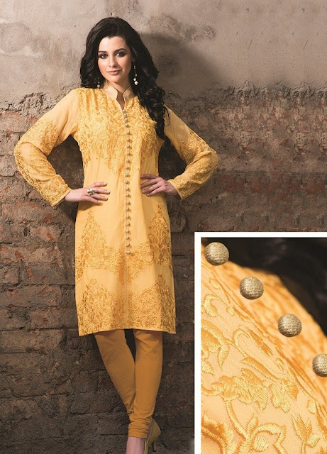 Yellow Georgette Embroidered Casual Kurti