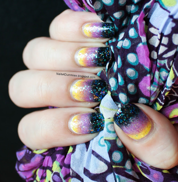 Black, Purple and Yellow Gradient Nails