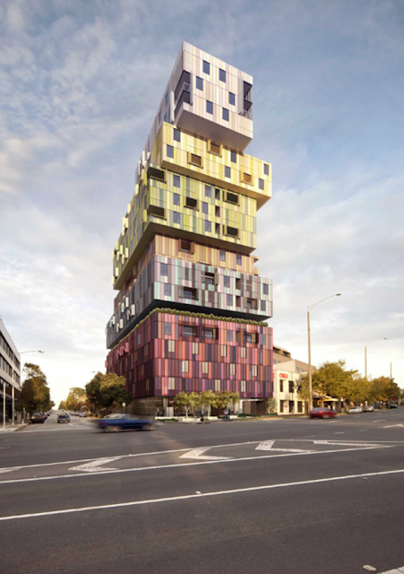'The Icon' a 18 story building at 2 St Kilda Road (under construction in 2013) is clearly  designed to make its own powerful visual statement over the area.