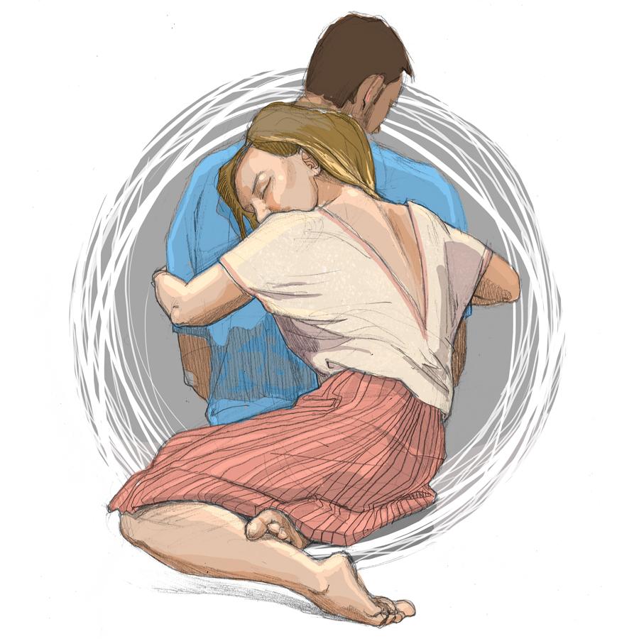 Urbaniak illustration couple para oprócz błękitnego nieba ilustracja dziewczyna kobieta tuli chłopaka miłosć