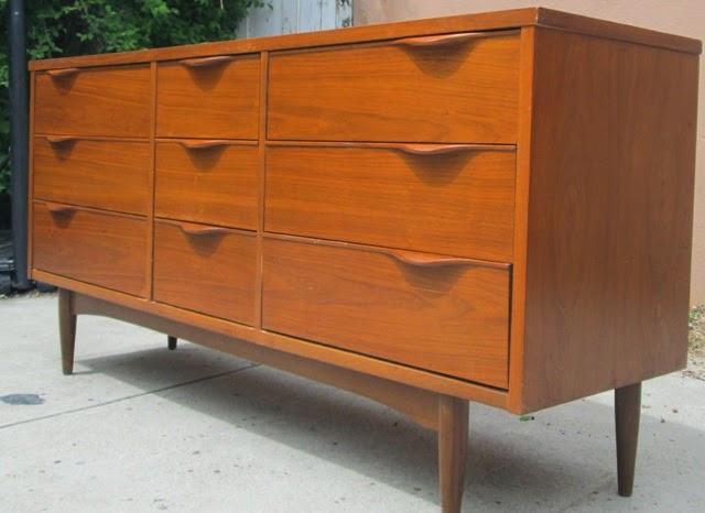 Walnut (French Walnut Looks Like Teak) 9 Drawer Mid Century Dresser By Harmony  House SOLD