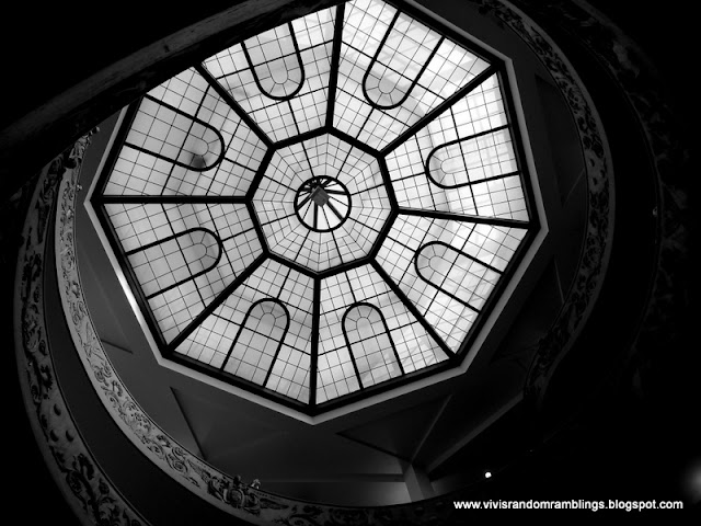 black and white photo of a glass ceiling at vatican Museum, Vatican City
