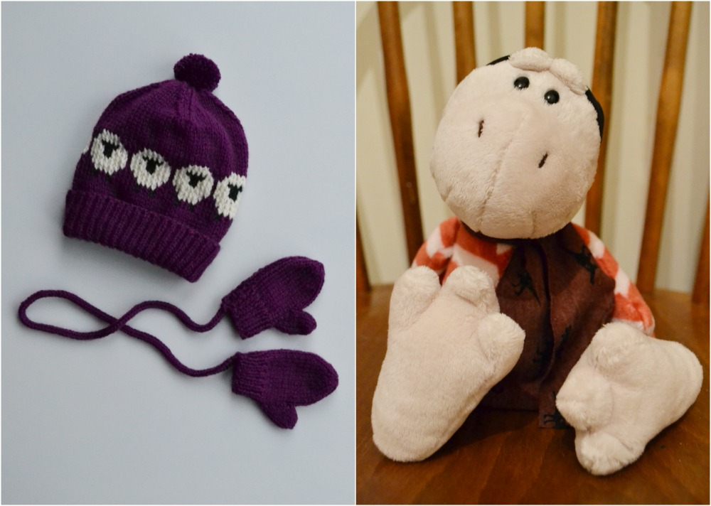 toddler baby sheep knitted hat mittens purple dinosaur toy nici christmas gifts