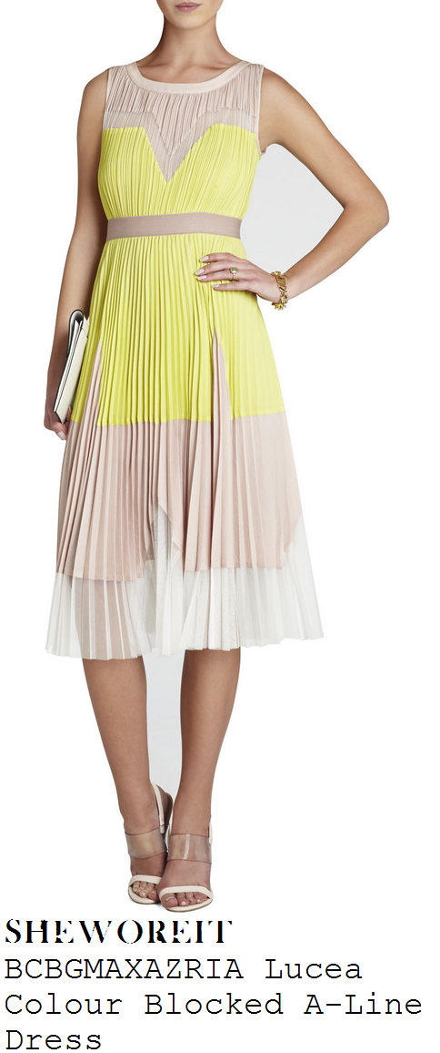 lucy-mecklenburgh-yellow-white-beige-sleevelss-colour-block-pleated-a-line-midi-dress