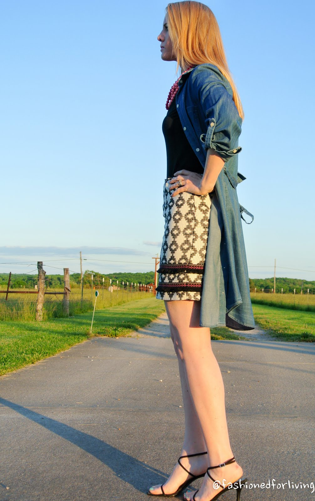 Fashioned For Living Black And White Skirt Denim Shirt Dress As A