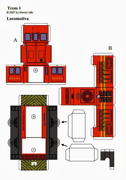 Molde de trem locomotiva com vagões