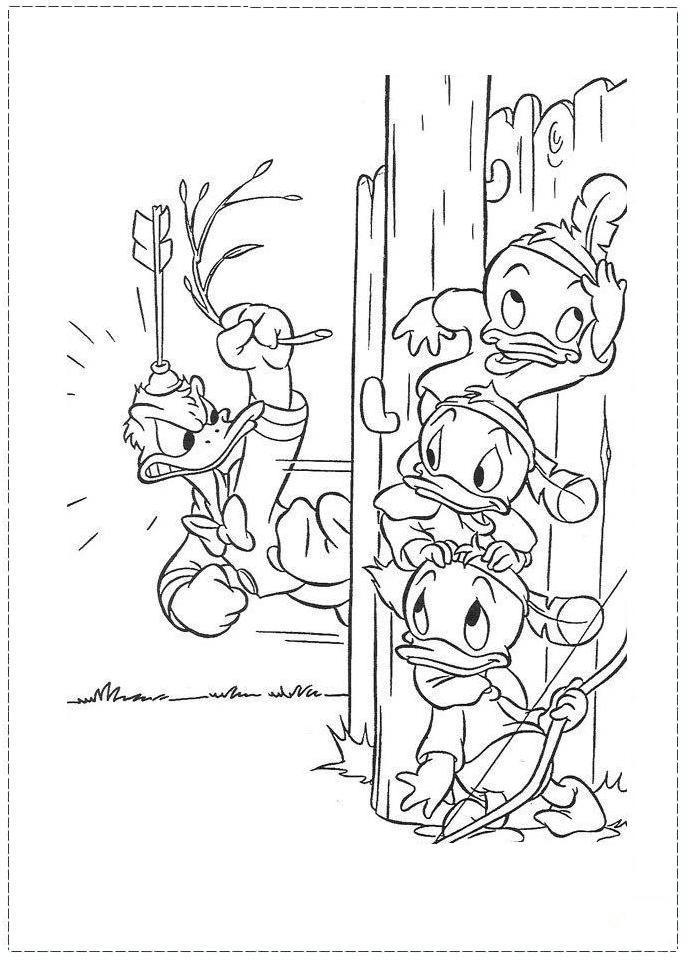 Desenhos Preto e Branco pato donald e seus sobrinhos Colorir