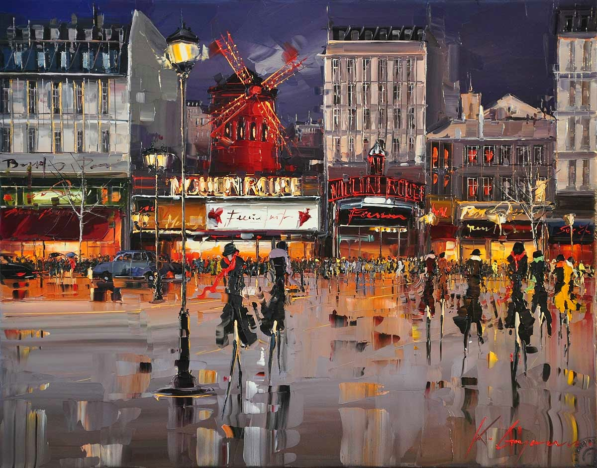 18-Moulin-Rouge-Lights-Kal-Gajoum-Paintings-of-Dream-Like Cities-of-the-World-www-designstack-co