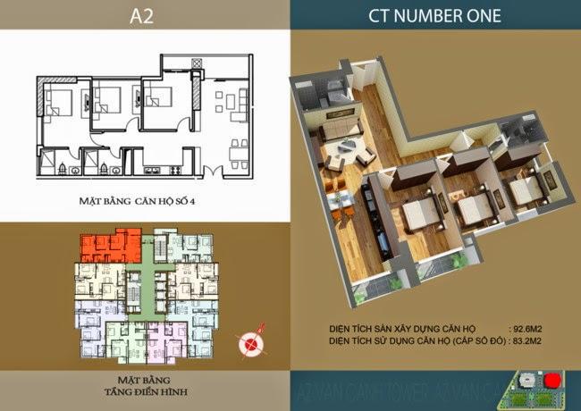 thiết kế chi tiết căn hộ số 4 - 83,2 m2 dự án ct number one