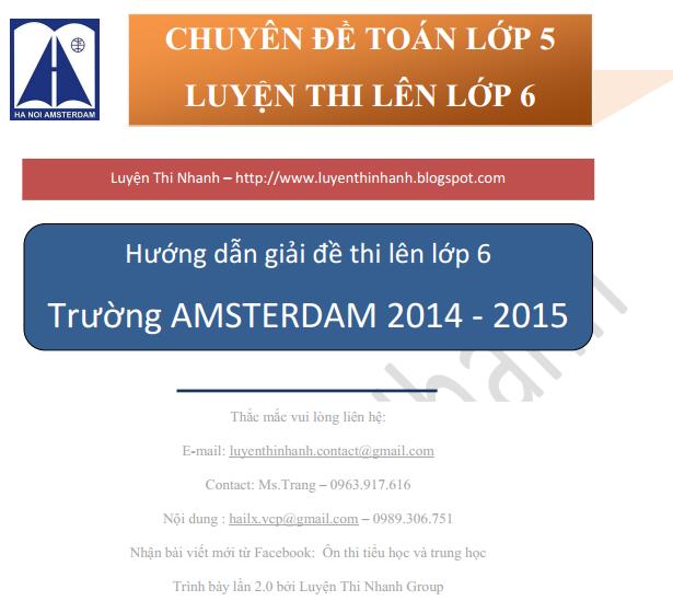 Đáp án đề thi môn toán vào lớp 6 trường Amsterdam 2014-2015