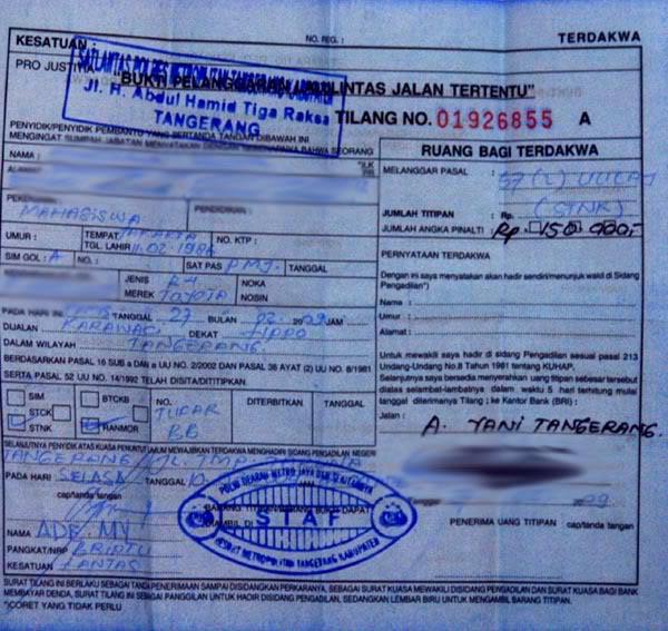 Prosedur Meminta SLIP Biru Saat Kena Razia Polisi Tilang