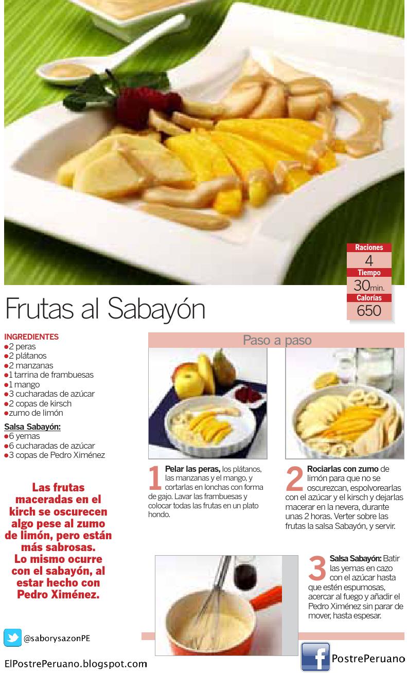 FRUTAS AL SABAYON - Postres con frutas - RECETAS SENCILLAS FÁCILES Y RÁPIDAS