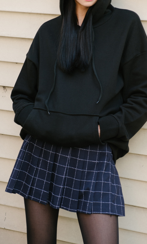 Graph Check Pleated Mini Skirt
