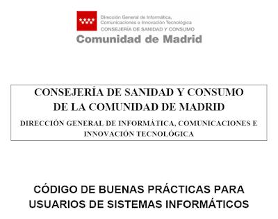 Imagen de la portada del Código de Buenas Prácticas para usuarios de sistemas informáticos de la Consejería de Sanidad y Consumo de la Comunidad de Madrid