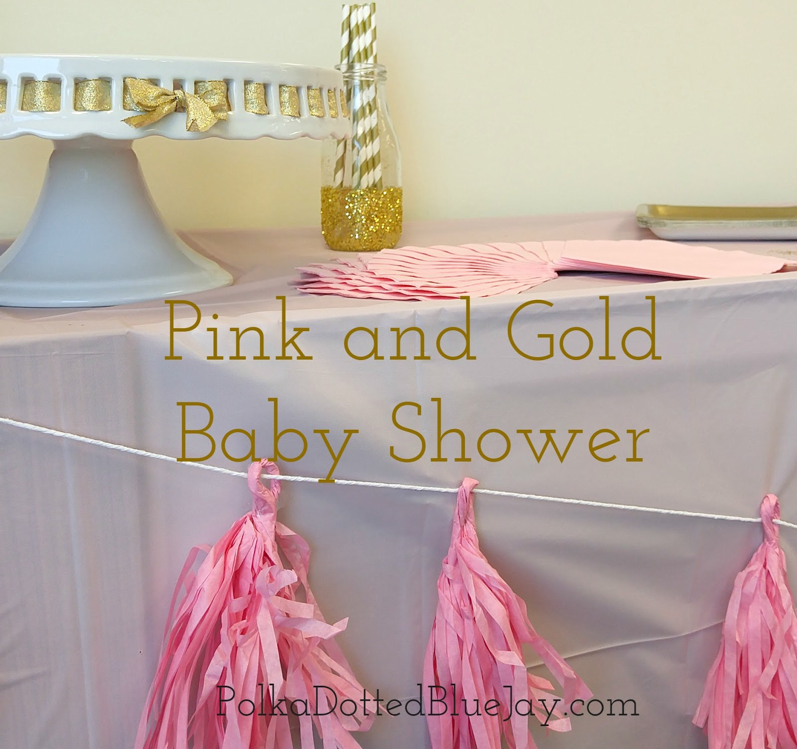 Pink And Gold Baby Shower Polka Dotted Blue Jay