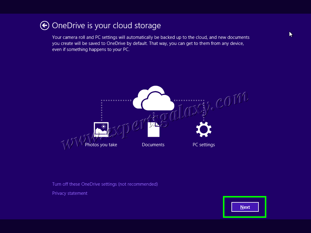 Windows 10 OneDrive Settings Screen