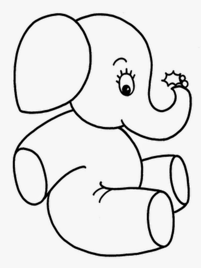 mewarnai gambar gajah untuk anak 8