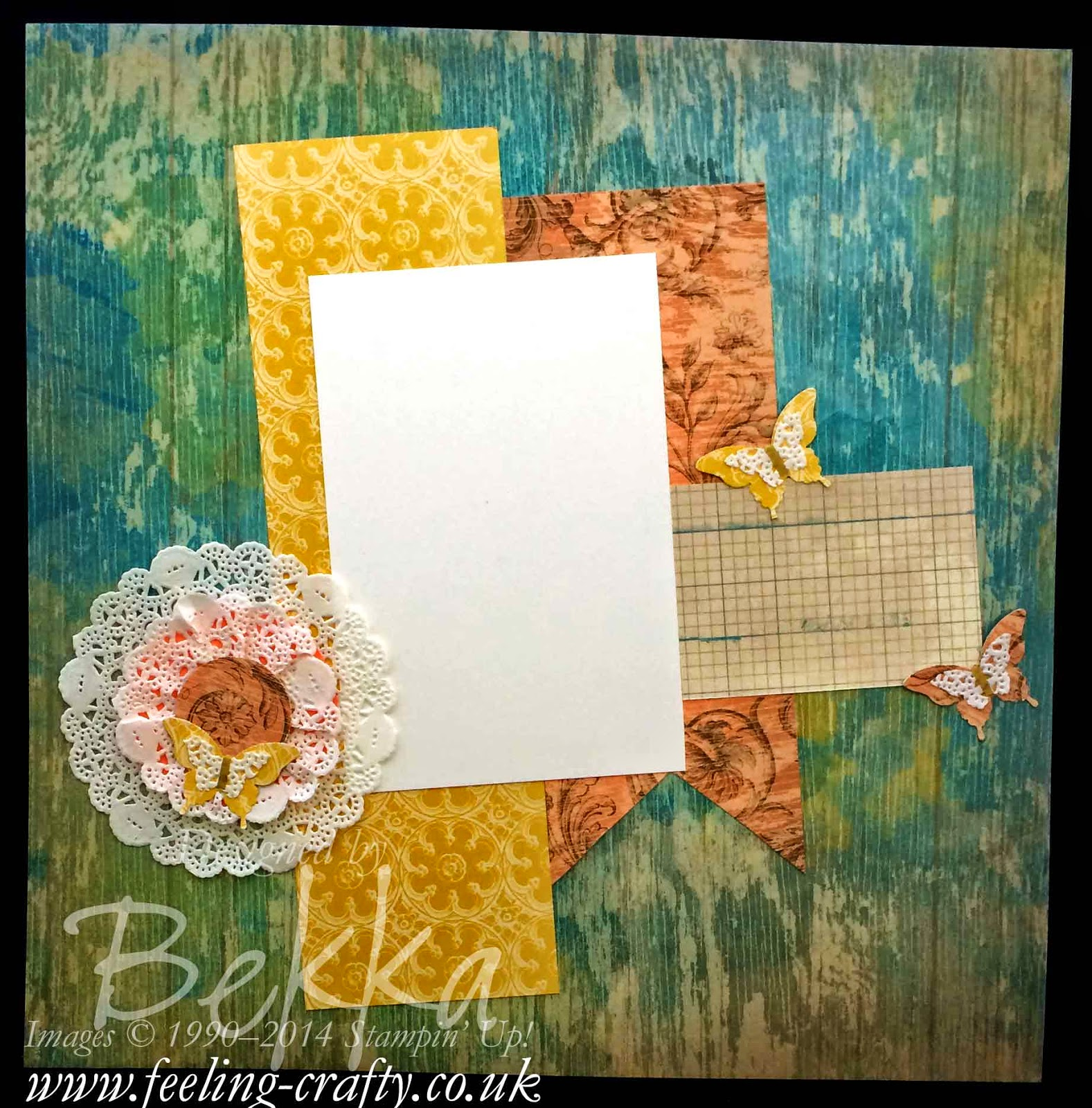 Tea Lace Doiky Fun with Soho Subway Papers - a Scrapbook Page by Stampin' Up! UK Independent Demonstrator Bekka