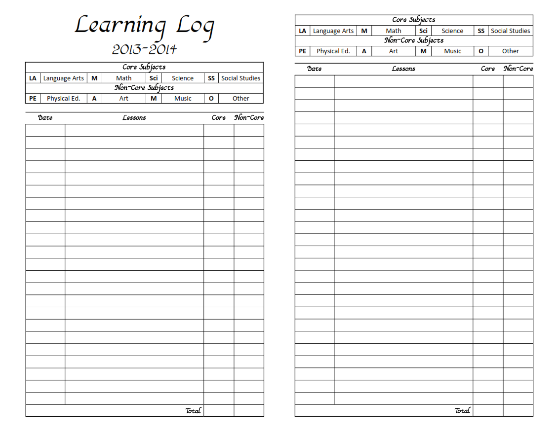 Daily Log Worksheet