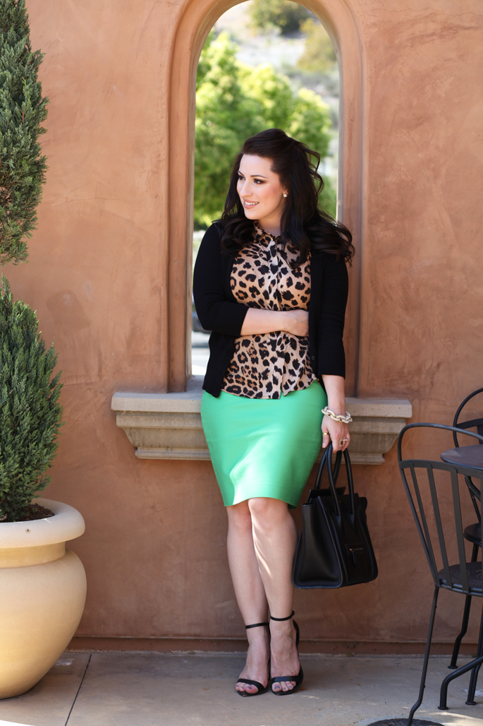 le-tote-leopard-blouse-celine-bag-mrs-robinson-mint-green-jcrew-skirt-king-and-kind-blog-pave-link-bracelet