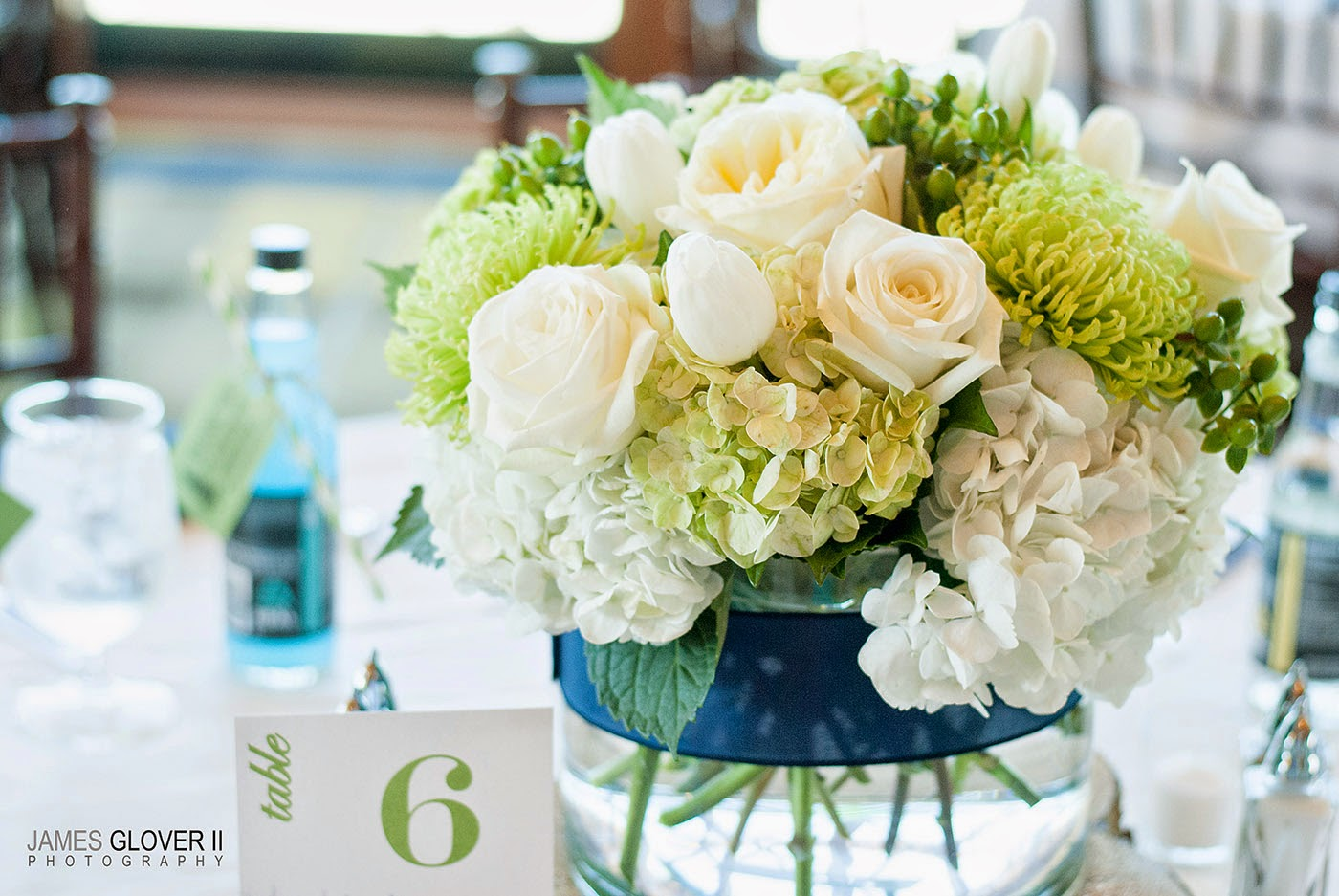 White wedding centerpieces by B&B Designs | James Glover Photography | Take the Cake Events