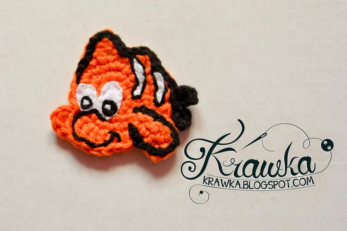 aplikacja , naszywka na szydełku w kształcie rybki nemo. Pomarańczowa. Orange Nemo fish aplique application amigurumi crochet