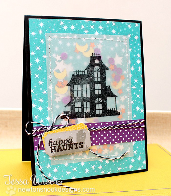 Haunted House Halloween card by Tessa Wise for Newton's Nook Designs | Spooky Street Stamp Set