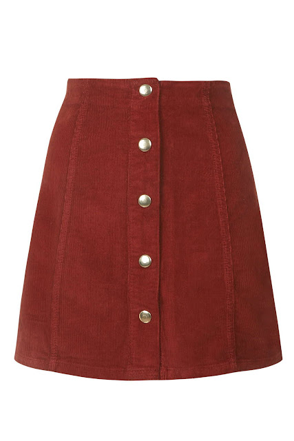 button through red skirt