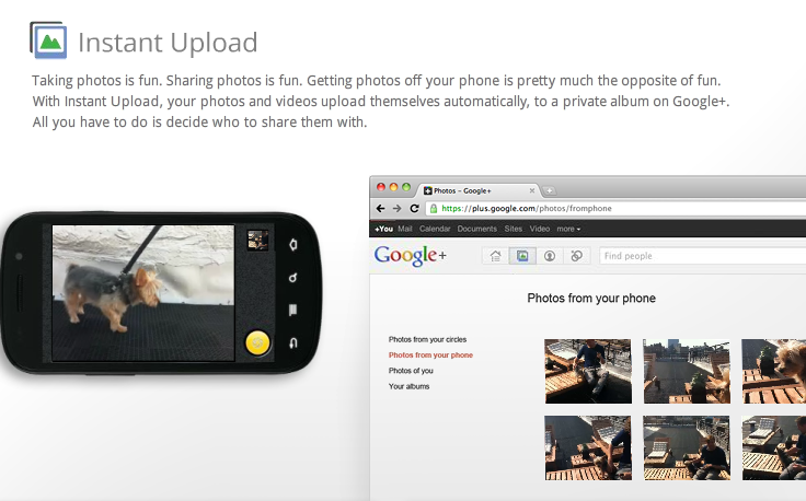 Google+ Features: Instant Upload