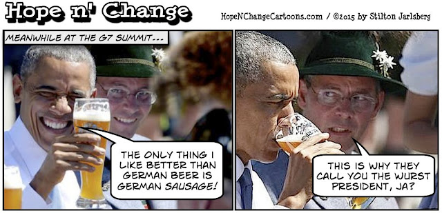 obama, obama jokes, political, humor, cartoon, conservative, hope n' change, hope and change, stilton jarlsberg, G7, germany, beer, sausage