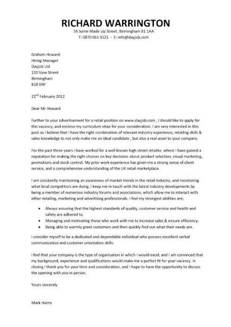 Cover Letter Sample Writing