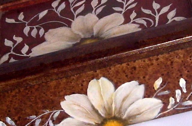 Pintura decorativa sobre madera caja de té