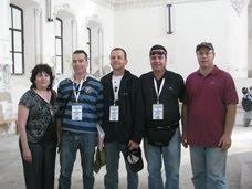 ממארגני מצעד החיים בבלארוס - מיקי קנטור, בלה שוטן, צחי מלמד,  מנחם אטקין בבית הכנסת בגרודנו.