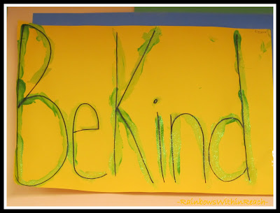 "photo of: Fine Motor Prompt in Preschool: ""Be Kind"" (Emotional Intelligence RoundUP via RainbowsWithinReach)"