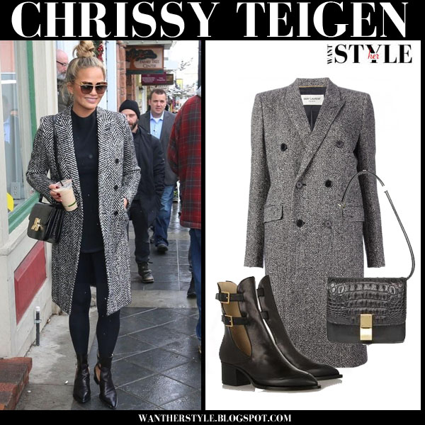 Chrissy Teigen in grey tweed saint laurent coat and black maiyet cutout ankle boots what she wore streetstyle