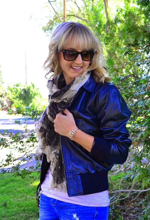 leather jacket, shorts, kate spade crossbody bag