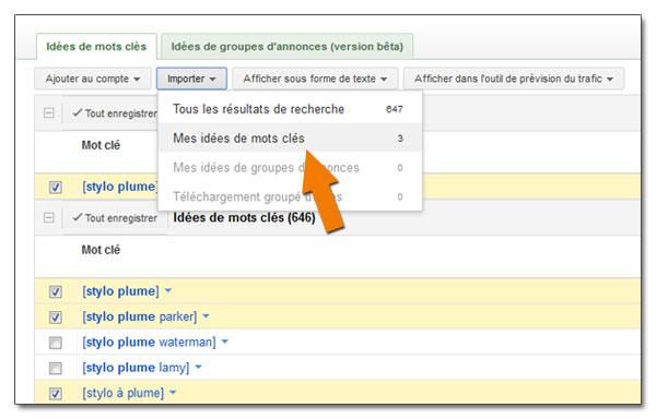 Exporter les suggestions du Keyword Tool de Google