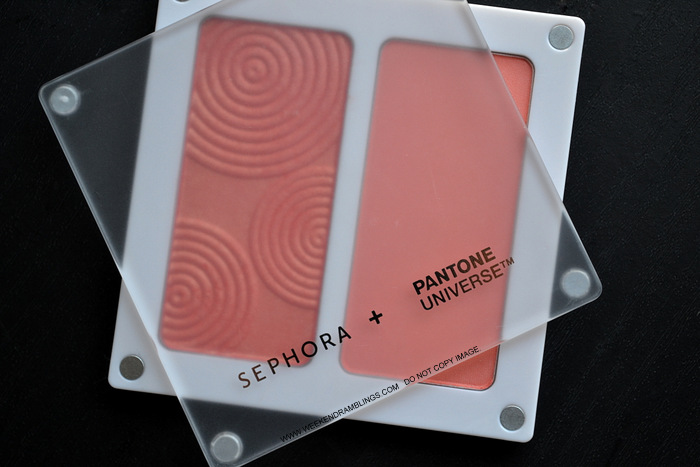 Sephora Pantone Universe Blush Duo Coral Desert Flower Photos Swatches FOTD Review Indian Darker Skin Makeup Beauty Blog
